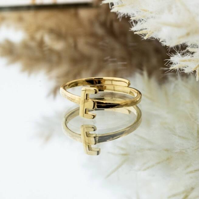 Imotionals One Size Letter Ring E Goud