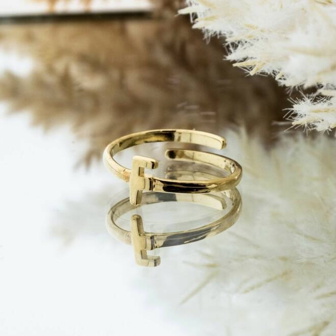 Imotionals One Size Letter Ring F Goud