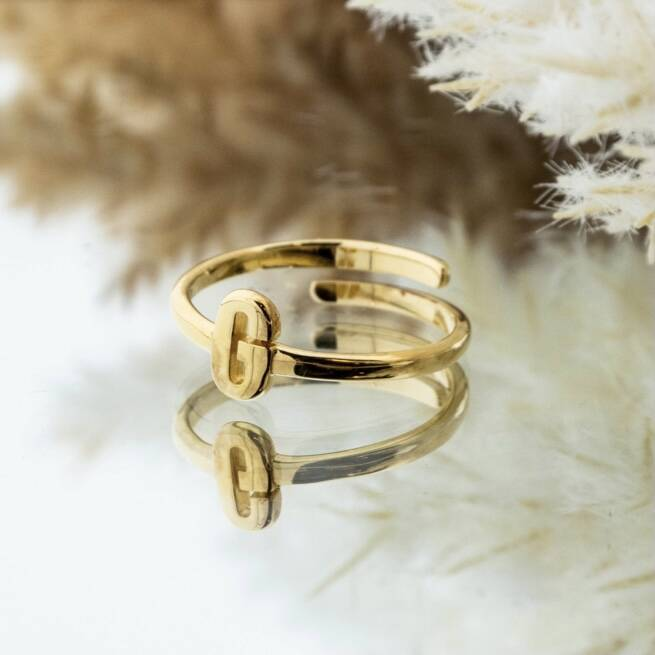 Imotionals One Size Letter Ring G Goud