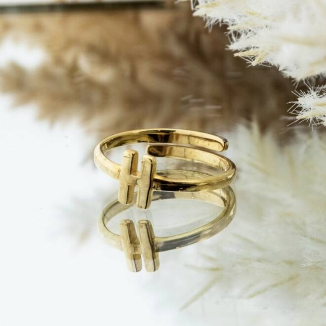 Imotionals One Size Letter Ring H Goud
