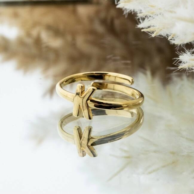 Imotionals One Size Letter Ring K Goud