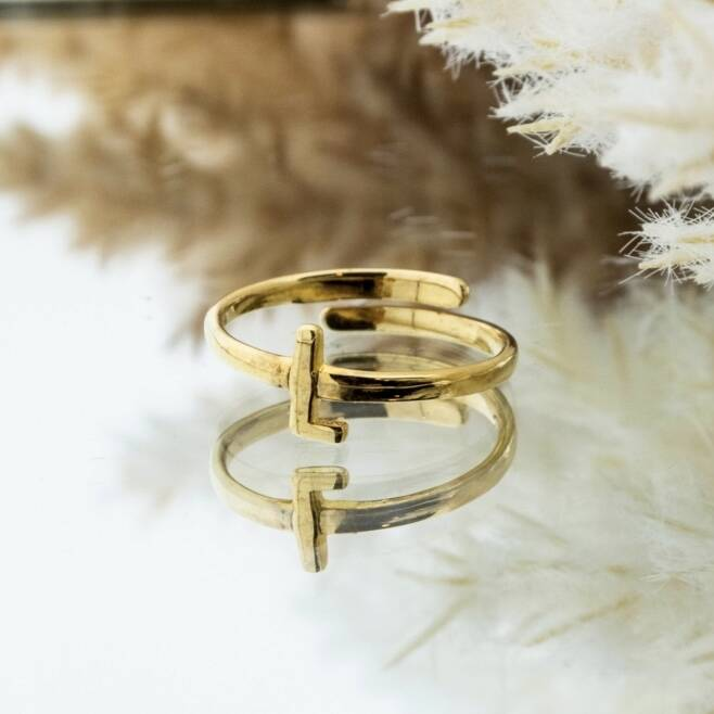Imotionals One Size Letter Ring L Goud