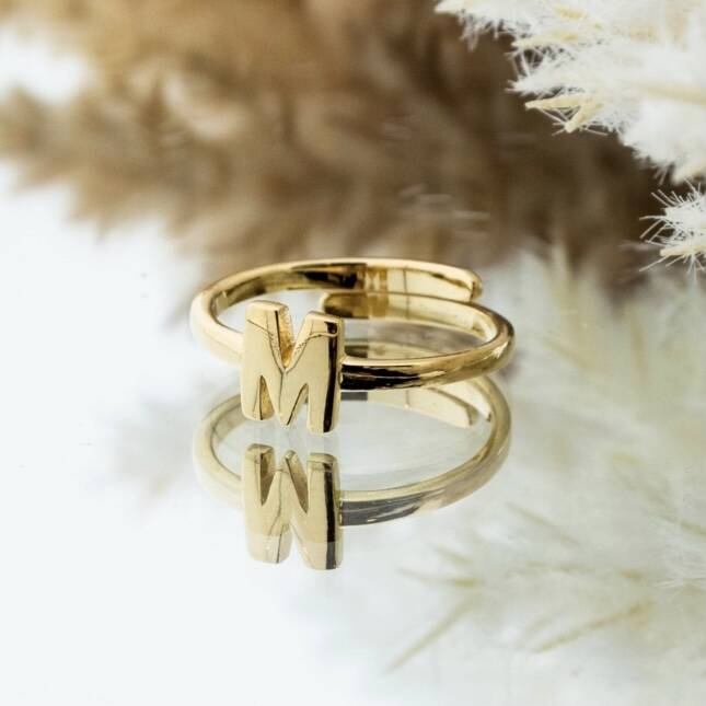 Imotionals One Size Letter Ring M Goud