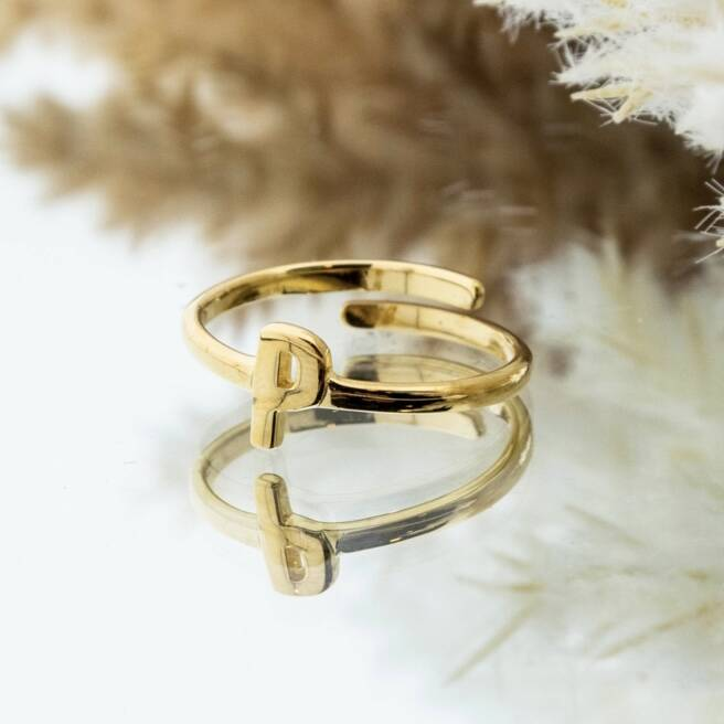 Imotionals One Size Letter Ring P Goud
