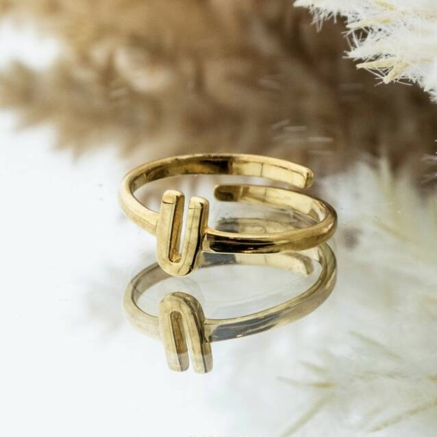Imotionals One Size Letter Ring U Goud