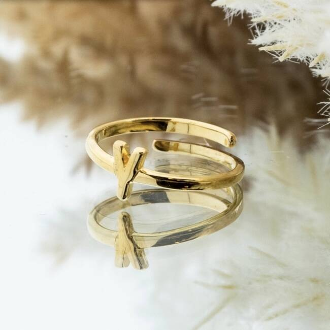 Imotionals One Size Letter Ring Y Goud