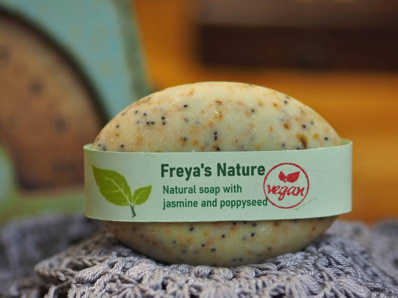 Freya's natural soap with jasmine and poppy seed