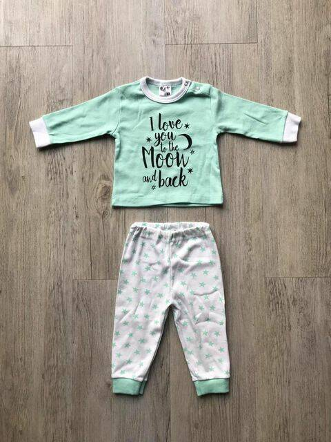"Mint kleurige pyjama van Beeren Bodywear ""I love you to the moon and back"""