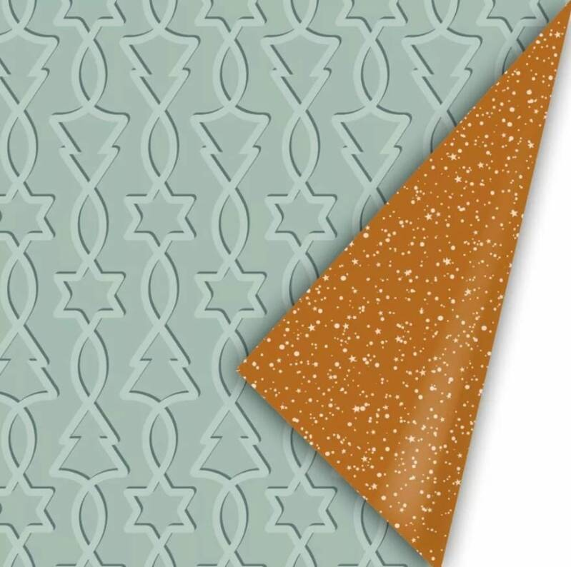 Cadeaupapier breed - Trees & Stars mint/roest