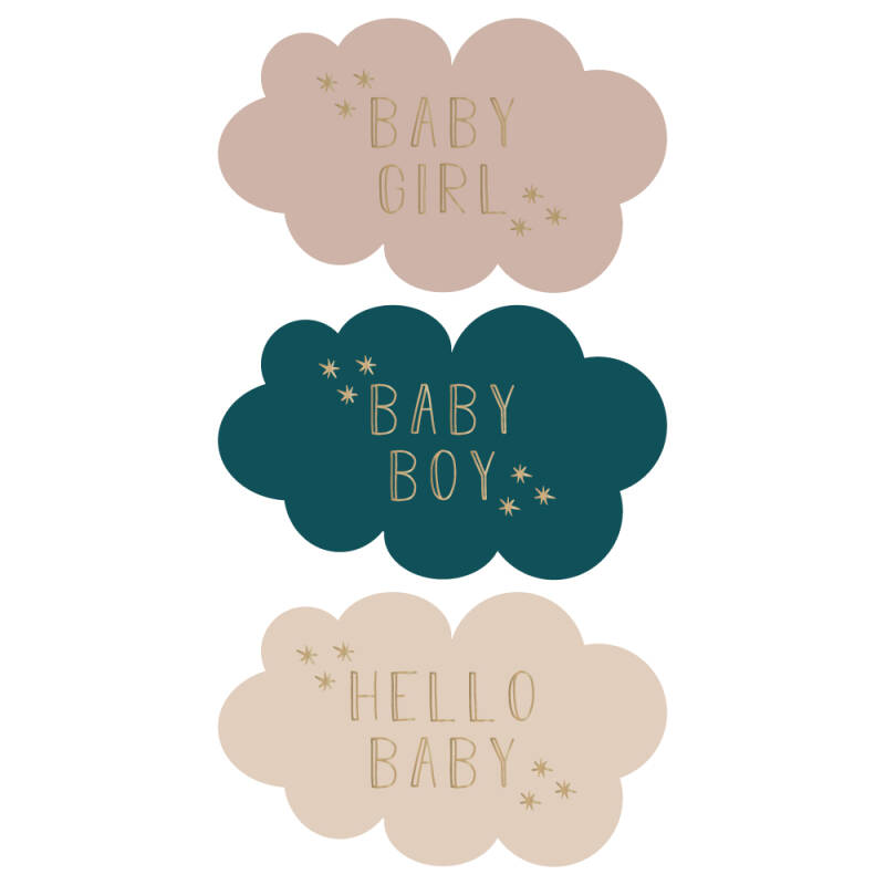 Sticker - baby,boy,girl wolkjes