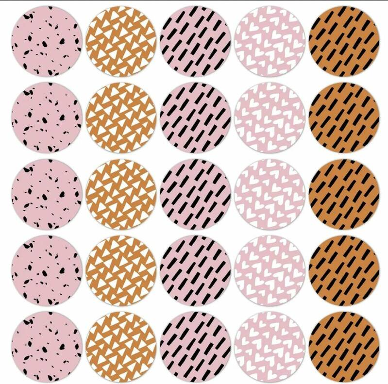 Stickers - Patroon roze/roest