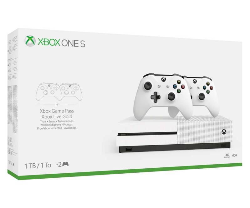 Xbox One S 1TB White + 2 Controllers - art.202002XB