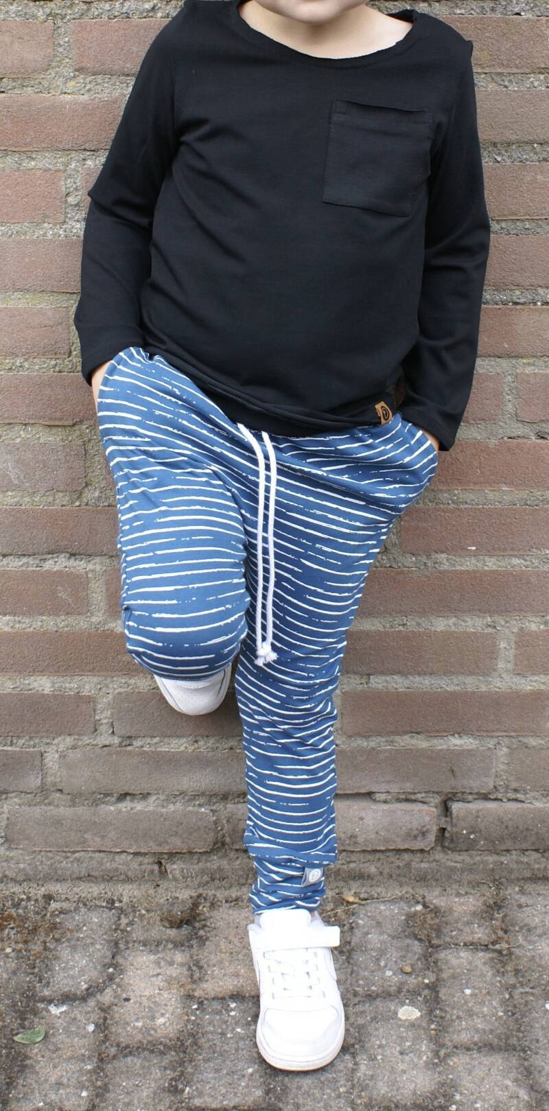 Joggers NOUT Streep blauw/wit