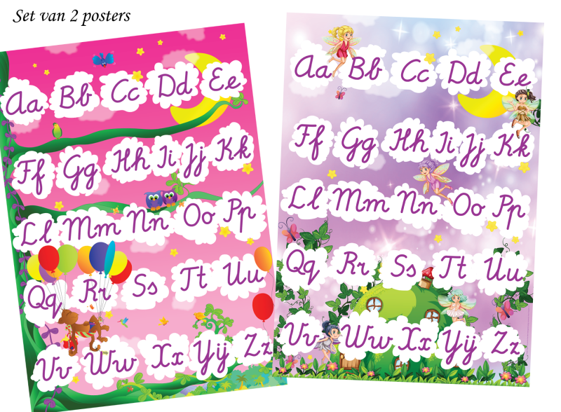 Tooby alfabet posters - ABC Tooby's jungle roze & ABC met elfjes