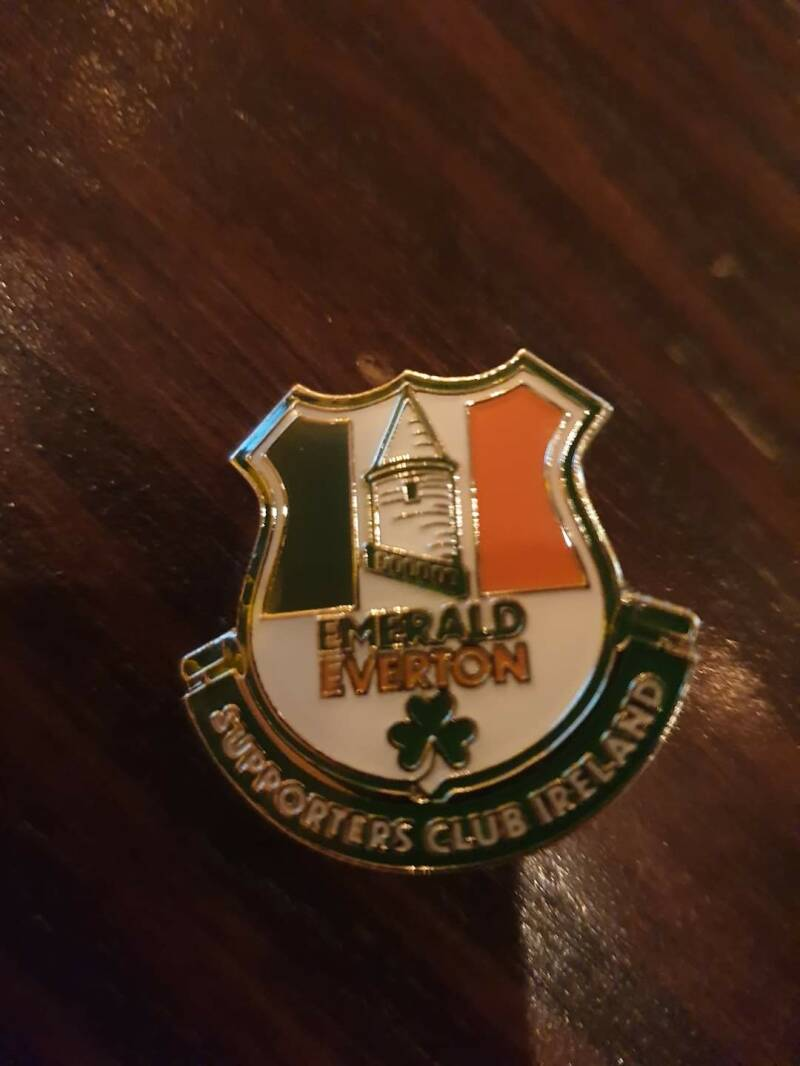 Emerald Everton Supporters Club pin badge.