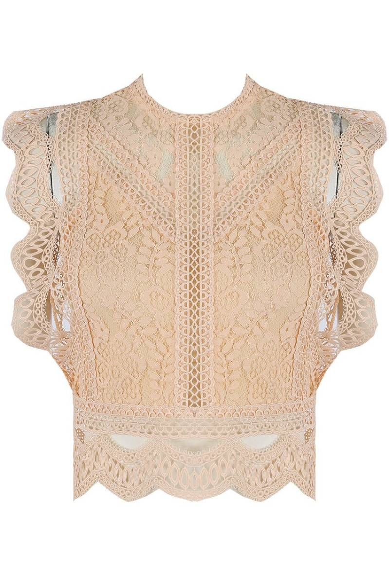 KYLIE LACE TOP BEIGE