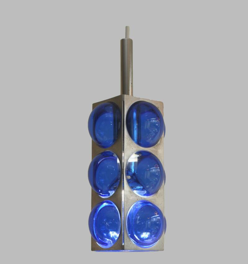 small chrome and blue glass hanging lamp