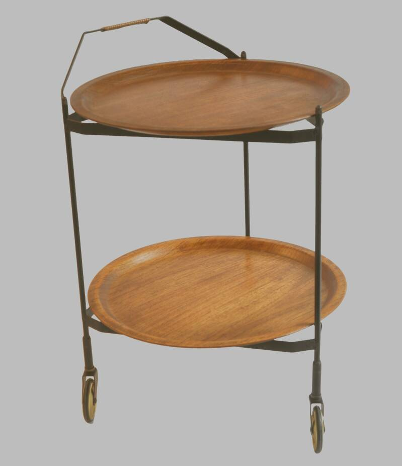 Danish modern foldable teak and metal serving cart