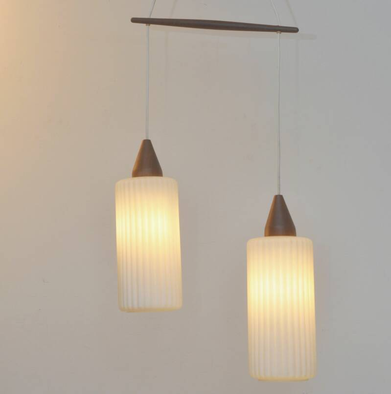 Massive teak and glass double hanging lamp