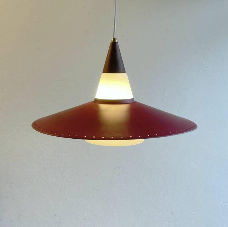 danish cased glass hanging lamp with perforated metal disk - Bent Karlby