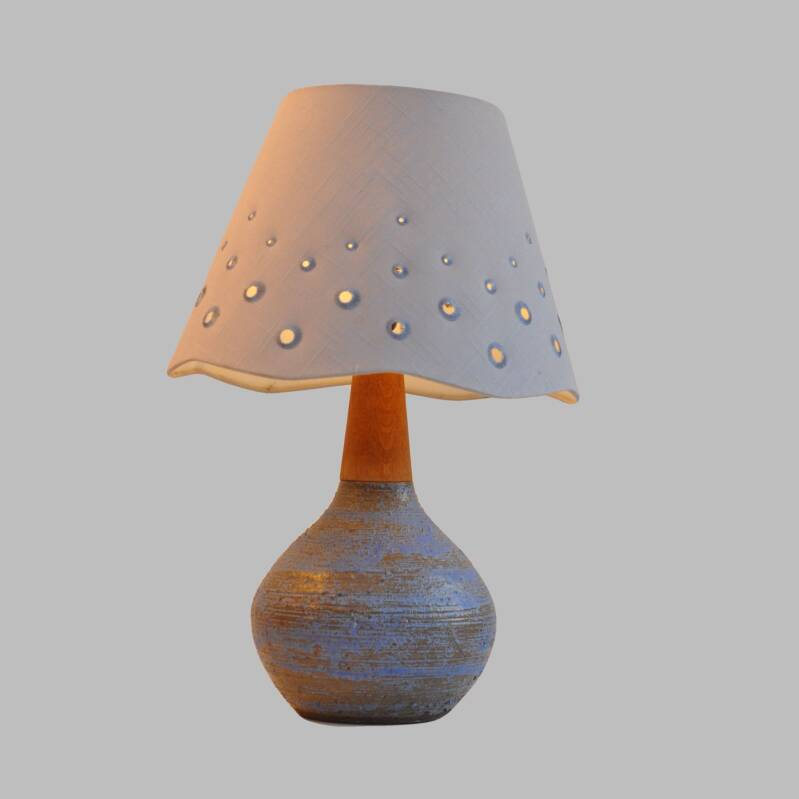 Danish earthenware and teak table lamp