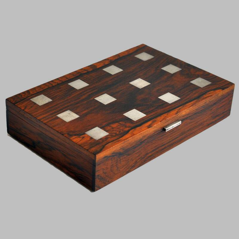 Rosewood box, silver inlay by Hans Hansen