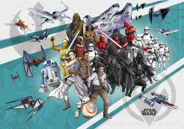 Fotobehang Star Wars Cartoon Collage - 400 x 280 cm