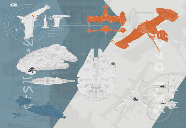 Fotobehang Star Wars Technical Plan - 368 x 254 cm