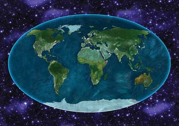 Fotobehang The Universe around the World Map
