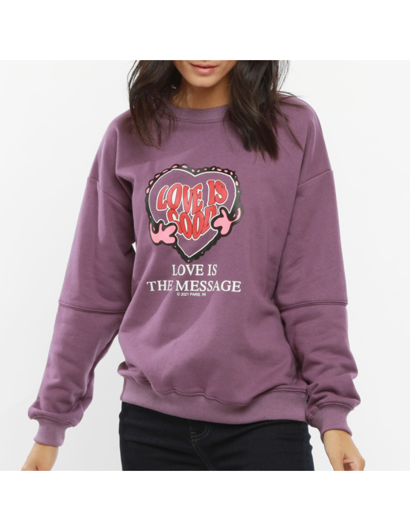 Sweater Love is good   Paars