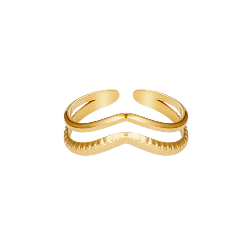Double Wave Ring - Gold