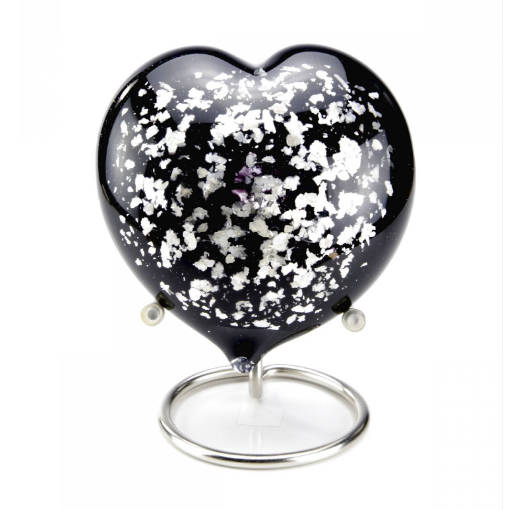 Black-Silver Hart mini urn (180ml)