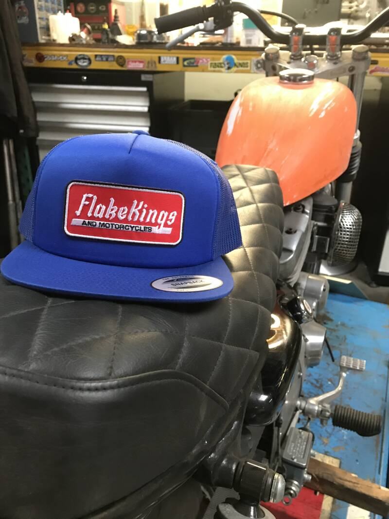 Full blue classic snap-back trucker cap with FlakeKings and Motorcycles patch.