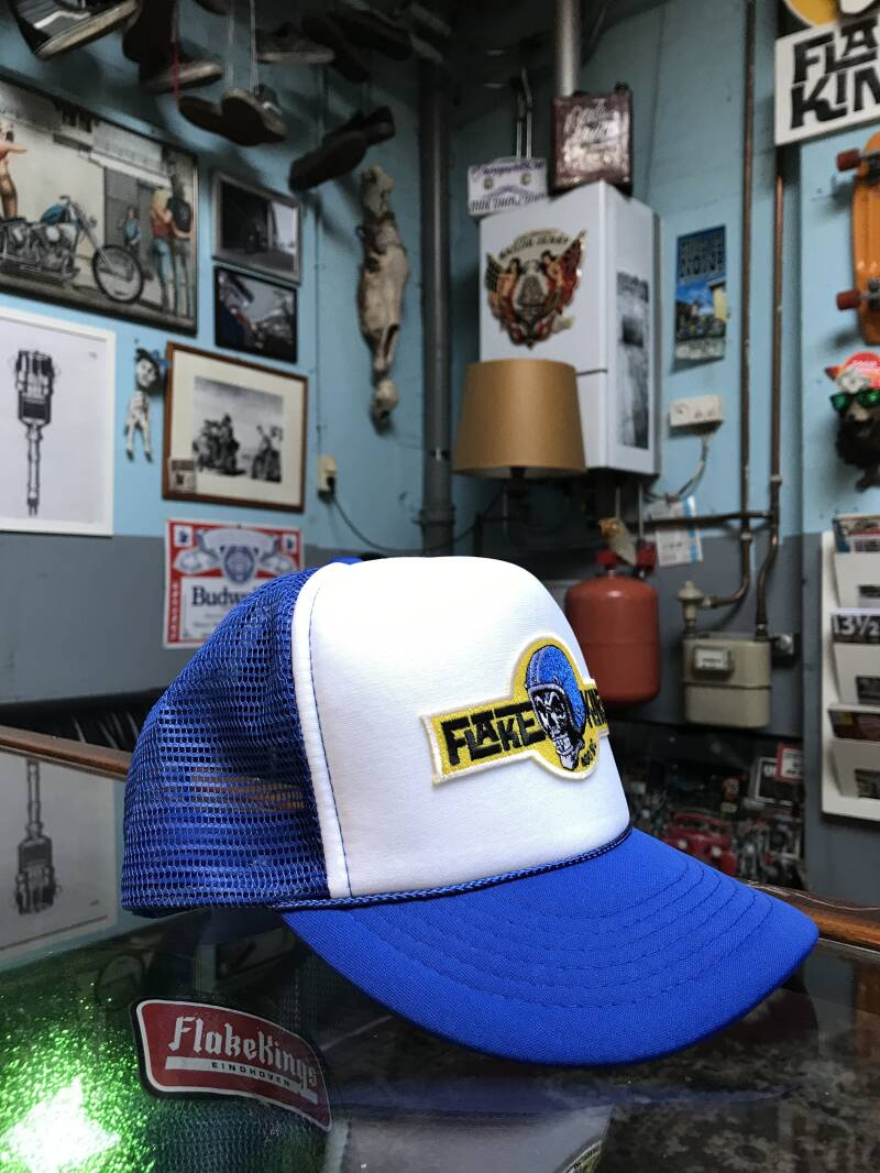 FlakeKings original brand patch, white / blue trucker cap.