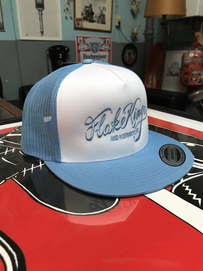 FlakeKings light blue embroidery, snap-back retro trucker cap.