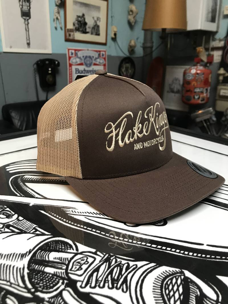 FlakeKings beige embroidery, snap-back retro trucker cap.