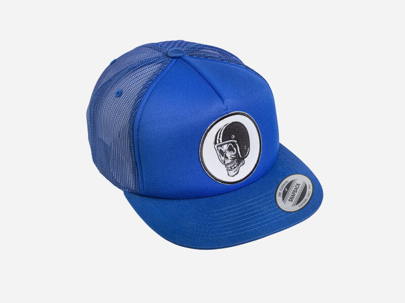 FlakeKings original skull patch, snap back, all blue Classic trucker cap.