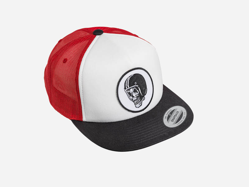 FlakeKings original skull patch, snap back, black / white / red Classic trucker cap