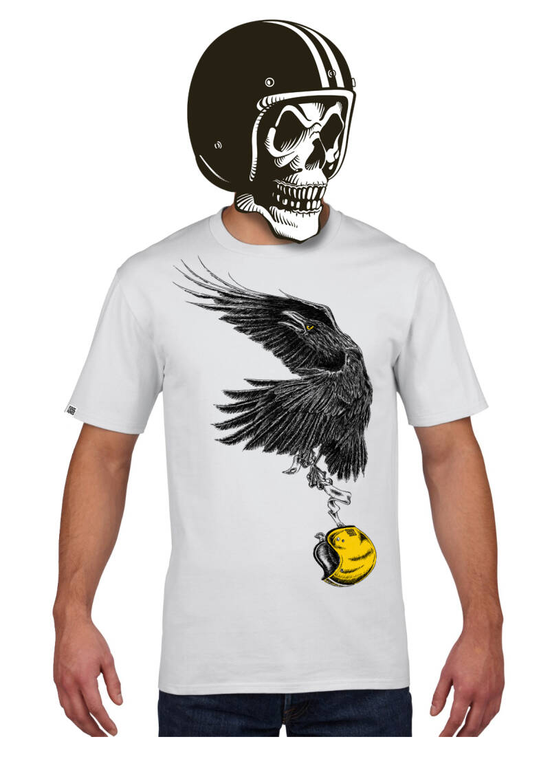FlakeKings white tee with black and gold front print.