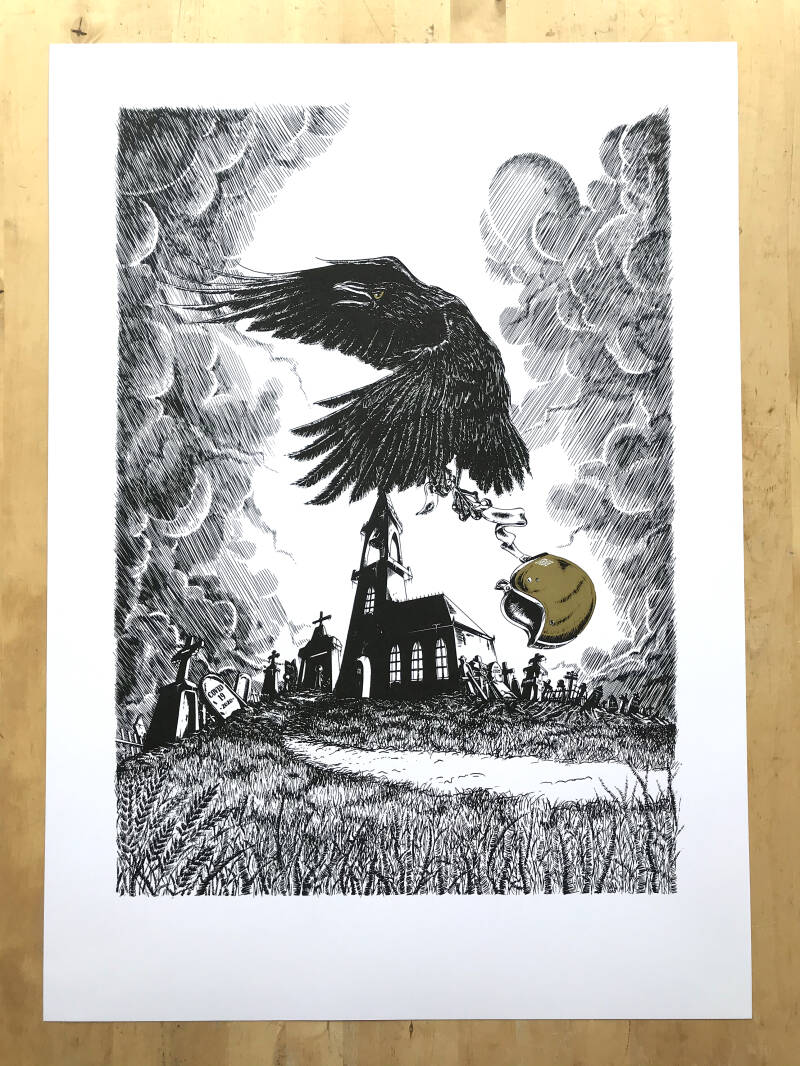 Limited edition Raven screen print.