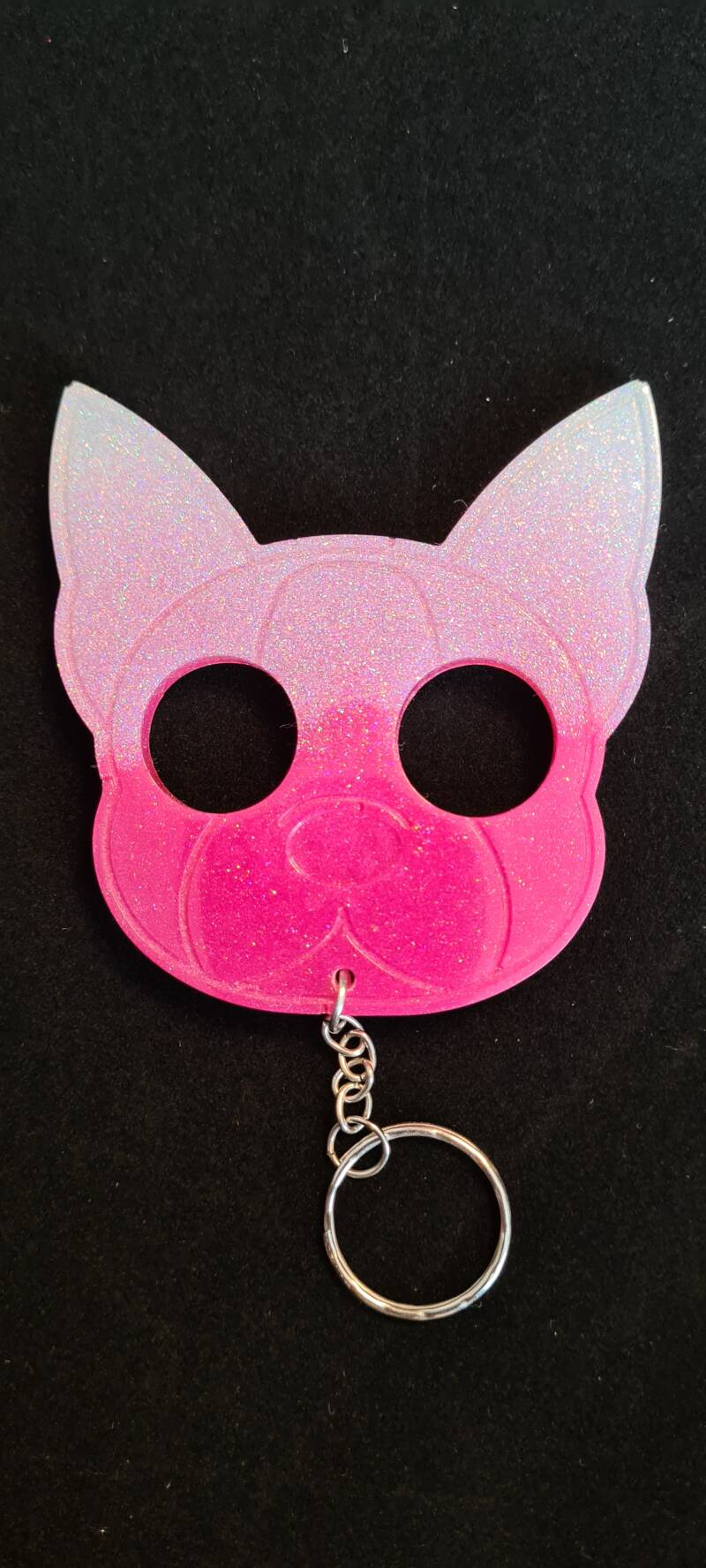 Doggy Keychain Pink White Holographic Glitter