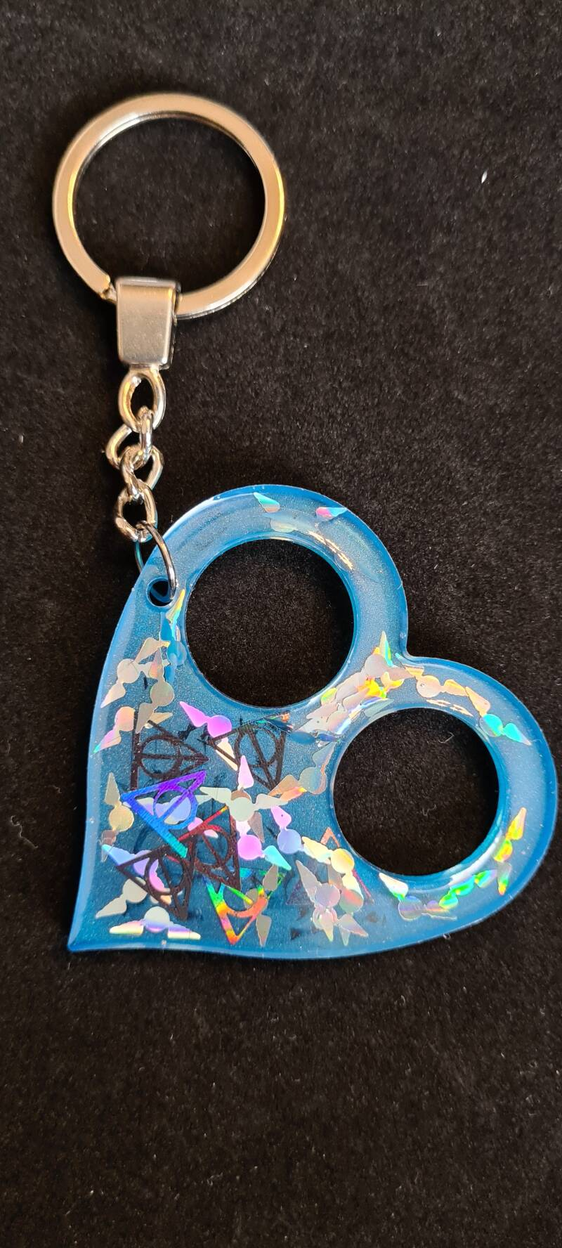 Heart Keychain Ravenclaw Snitch & Deadly Hallows Holographic