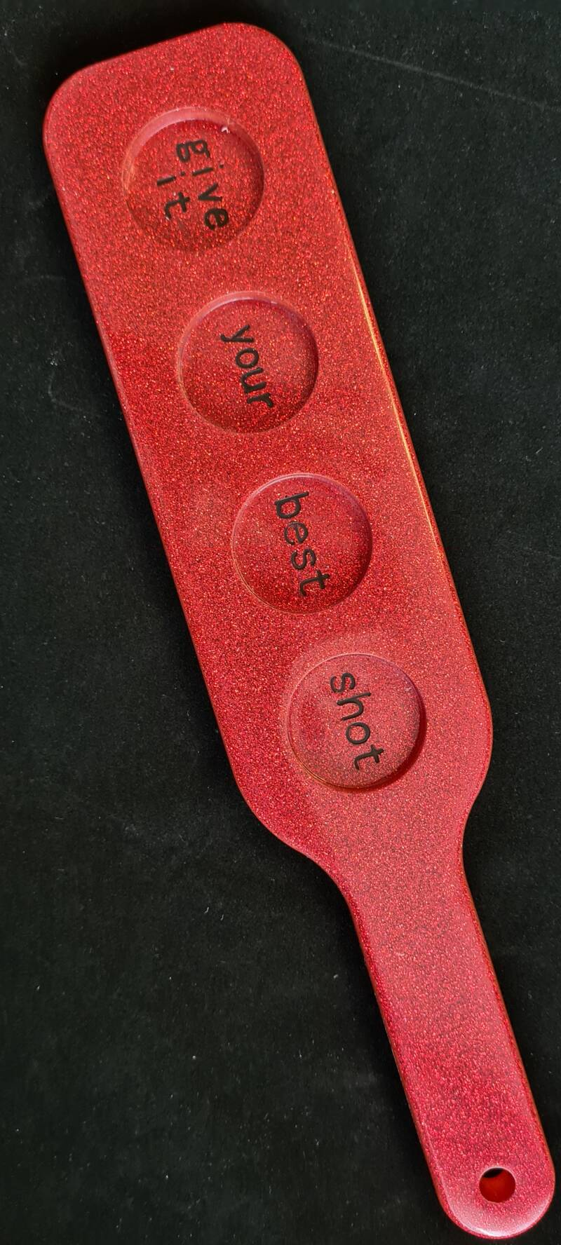 Spanking Paddle, Give it your best shot Red glitter