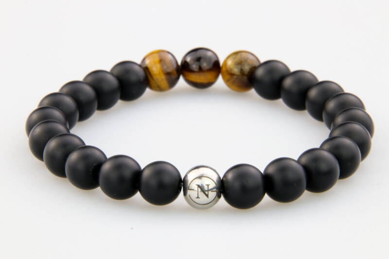 BLACK MAT JADE & BROWN TIGER EYE