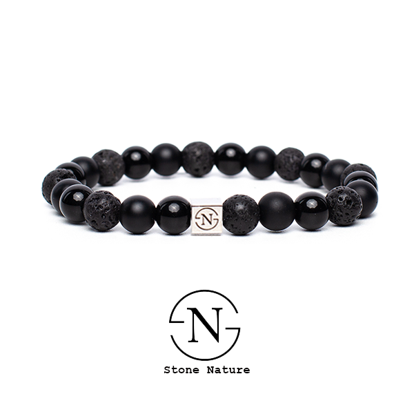 NATUURSTEEN HEREN ARMBAND TRIPLE BLACK