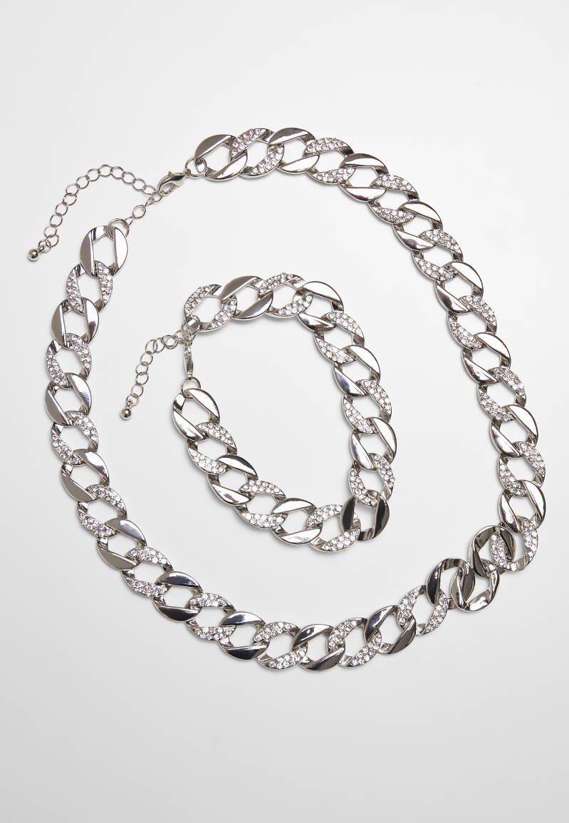 Basic Diamond Necklace And Bracelet Set - Zilver
