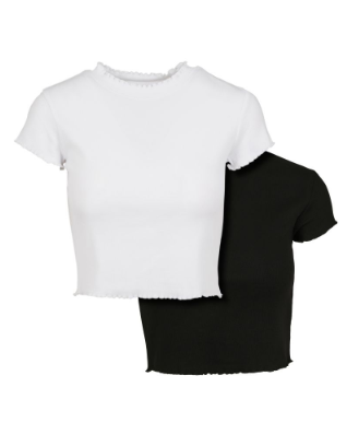 Ladies Cropped Rib Tee 2-Pack