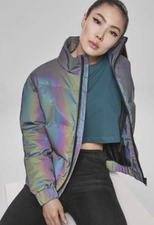 Ladies Iridescent Reflectiv Puffer Jacket