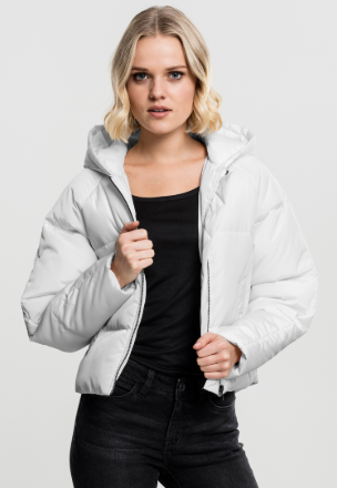 Ladies Hooded Oversized Puffer Jacket - Wit