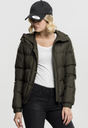 Ladies Hooded Puffer Jacket - Groen